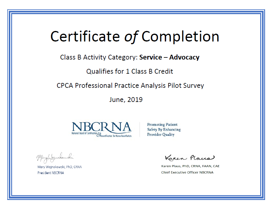 CPCA PPA Survey Certificate Capture