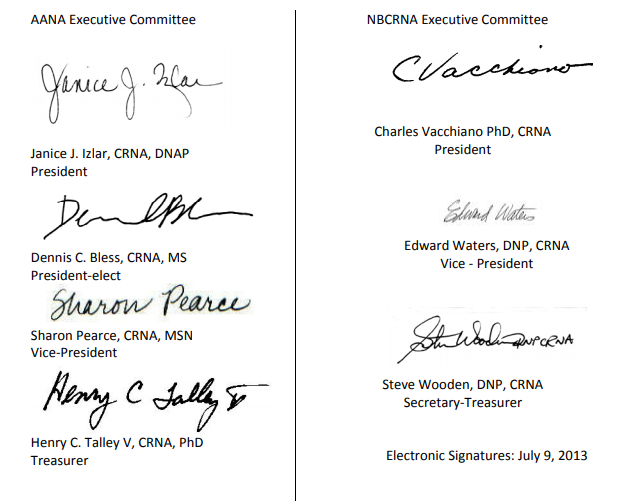 NBCRNA-AANA agreement e-signatures